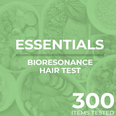 Bioresonance hair test, essentials, tests your food sensitivity against 300 different items