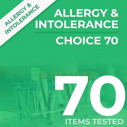 Allergy & Intolerance blood sample test, analyses against 70 items for IgE and IgG4 blood levels