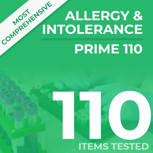 Allergy & Intolerance blood sample test, analyses against 110 items for IgE and IgG4 blood levels