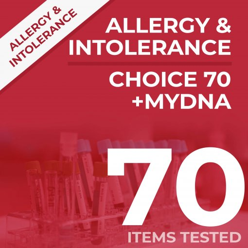 Allergy and Intolerance test + MyDNA test bundle, tests your sample against 70 items PLUS a DNA test